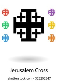 Jerusalem crosses set vector illustration, holy cross of Jerusalem silhouette