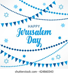 Jerusalem Day greeting card with garlands and Jewish stars. Perfect for placard, greeting card, jewish holidays. Vector illustration