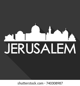 Jerusalem Flat Icon Skyline Silhouette Design City Vector Art Famous Buildings