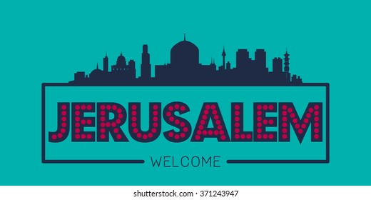 Jerusalem Israel city skyline silhouette vector design