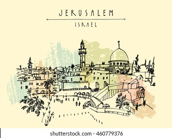 Jerusalem, Israel. City skyline. Wailing wall. Hand drawing. Travel sketch. Vintage touristic postcard, poster, greeting card. Vector illustration