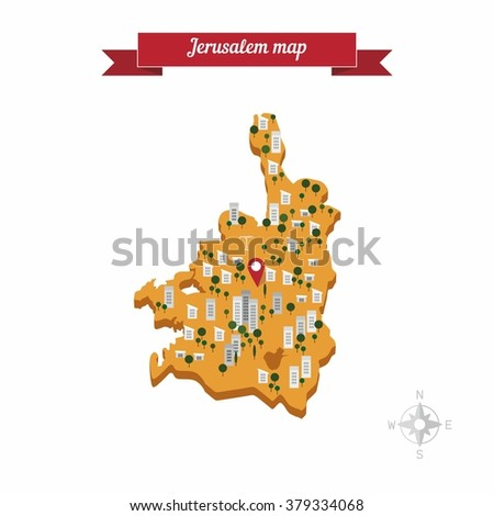 Jerusalem Israel Map Flat Style Design Stock Vector (Royalty Free ...