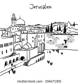 Jerusalem, Israel old city skyline. Wailing wall. Handmade drawing isolated in vector. Postcard poster template. Freehand drawing. Jerusalem city view background