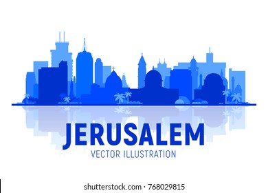 Jerusalem, Israel silhoutte skyline with panorama in white background. Vector Illustration. Business travel and tourism concept with modern buildings. Image for presentation, banner, web site.