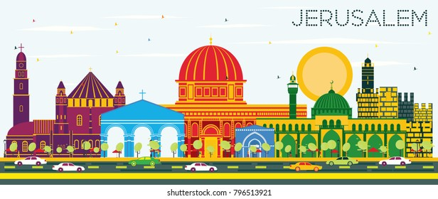 Jerusalem Israel Skyline with Color Buildings and Blue Sky. Vector Illustration. Business Travel and Tourism Concept with Historic Architecture. Jerusalem Cityscape with Landmarks.