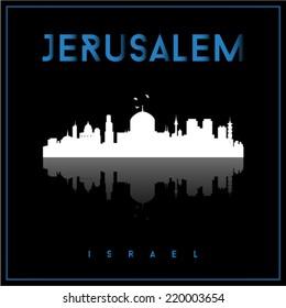 Jerusalem, Israel skyline silhouette vector design on parliament blue and black background.