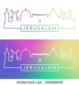 Jerusalem skyline. Colorful linear style. Editable vector file.
