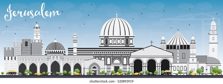 Jerusalem Skyline with Gray Buildings and Blue Sky. Vector Illustration. Business Travel and Tourism Concept with Historic Architecture. Image for Presentation Banner Placard and Web Site