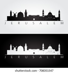 Jerusalem skyline and landmarks silhouette, black and white design, vector illustration.
