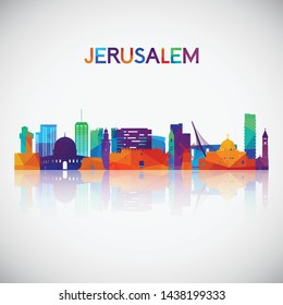 Jerusalem skyline silhouette in colorful geometric style. Symbol for your design. Vector illustration.