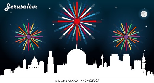 Jerusalem skyline silhouette, dark night sky with fireworks vector design