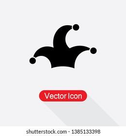Jester Cap Icon, Jocker Hat Icon Vector Illustration In Flat Style Eps10