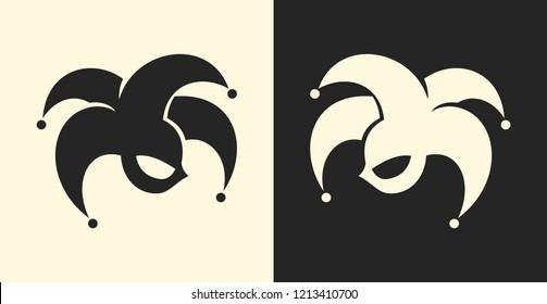 Jester or clown symbol. Joker sign icon.
