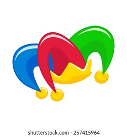 Jester hat with bells on the white background. Vector illustration.