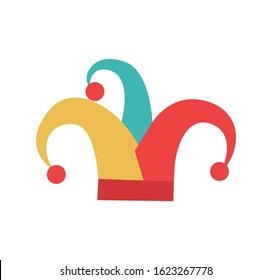 Jester hat. Cartoon sticker in vector