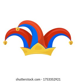 Jester hat icon, clown head wear to make jokes, pranks. Colorful headpiece with bells, comedic costume accessory. Vector jester hat cartoon illustration isolated on white background