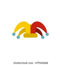 Jester hat icon. Flat illustration of jester hat vector icon logo isolated on white background