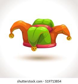 Jester hat icon. Joker costume element. Funny carnival cap. Vector.
