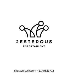 jester hat logo vector icon line outline monoline