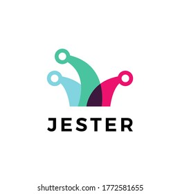 jester hat logo vector icon illustration