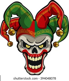 jester skull wearing fools hat