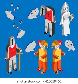 Jester, white lady, headleess knight, knight, heads with different facial expressions and speech bubble. Isometric icon set.  Vector illustration. Vector illustration.