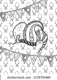 Jester's hat. Mardi Gras coloring page for adult coloring book. Vector illustration.