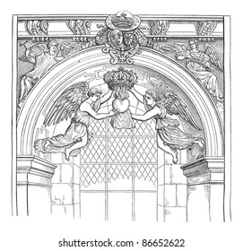 Jesuit Church, rue Saint-Antoine. - Angels of money with the heart of Louis XIII, after an engraving published in the Archives of scientific missions, vintage illustration. Magasin Pittoresque 1874.