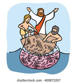 Jesus asks the disciples to cast the net over the right side of the boat and