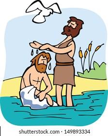 Jesus is baptized by John the Baptist.
