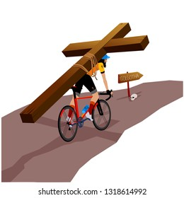 Jesus Carrying His Cross with Bicycle. Golgotha Road. Humorous Vectoral Illustration. White Background Isolated.