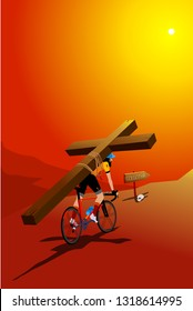 Jesus Carrying His Cross with Bicycle. Golgotha Road. Humorous Vectoral Illustration.