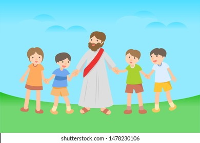Jesus' character. Jesus with young children. Sunday School.