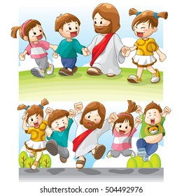 Jesus' character. Jesus with young children. Sunday School. Available for various purposes