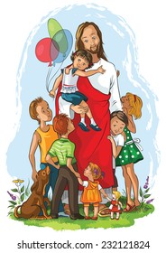 Jesus with children. Also available raster and coloring book version