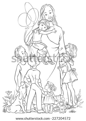 Jesus Children Coloring Page Available Colored Stock Vector (Royalty ...
