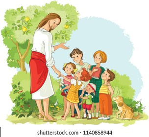 Jesus With Children. Vector cartoon illustration. Also available coloring book illustration