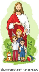 Jesus with Children. Vector Christian cartoon illustration. Also available coloring book version
