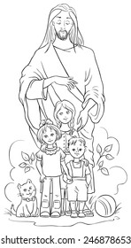 Jesus with Children. Vector Christian cartoon black and white illustration. Coloring page. Also available colored version