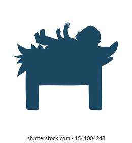 jesus christ baby in cradle manger character vector illustration design