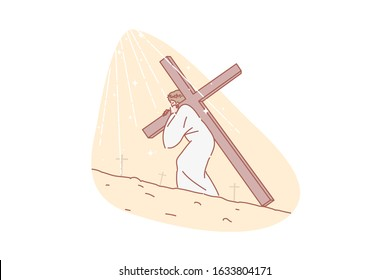 Jesus Christ, Bible, religion, Christianity, concept. Jesus carrying cross. Road to Calvary. Messiah shouldering rood. Torment and salvation christianity symbol. Humanity expiation simple flat vector.