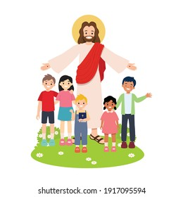 Jesus Christ with children of different races. Bible study group clip art isolated. Flat vector cartoon style.
