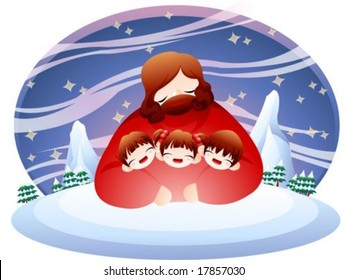 Jesus Christ and Christian - the Lord hug cute young lovely girl and joyful boys warmly in the snowy wood park on the background with bright night of blue sky and cold icy land : vector illustration