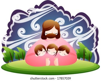 Jesus Christ and Christian - the Lord hug cute young lovely girl and joyful boys warmly on the wood park in strong wind on background with dark night of blue sky and green grass : vector illustration