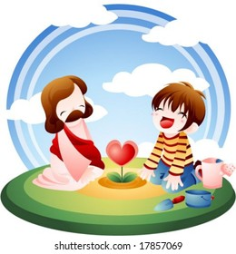Jesus Christ and Christian - the Lord plant red heart flower with a cute young boy in the beautiful natural botanical garden on a background with bright blue sky and green grass : vector illustration