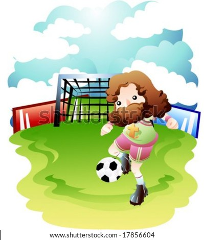 Jesus Christ Christian Lord Play Game Stock Vector Royalty Free