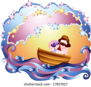 Jesus Christ and Christian - pray for God's grace with a cute young child in the beautiful blue and purple ocean on white and bright colorful background of wave pattern and frame : vector illustration