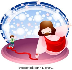 Jesus Christ and Christian - walking on the red line with a cute young child and the Messiah on blue background of white bubble and star patterns : vector illustration
