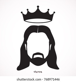 jesus christ with crown character religious icon vector illustration design