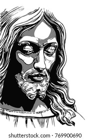 Jesus Christ, crucifixion. Hand drawing
